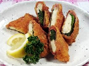 豆腐の生ハム巻きフライ