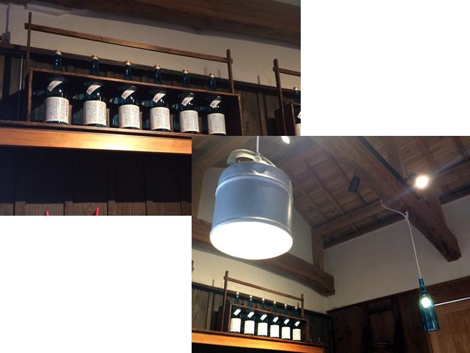 木枠を使用したディスプレイ、冷温器を使った照明
